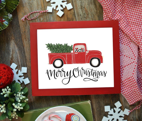 Merry Christmas Vintage Red Truck - Christmas / Holiday Art Print