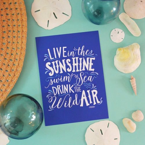 Live in the Sunshine blue art print