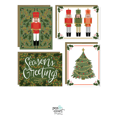 Nutcracker Christmas set of four holiday cards