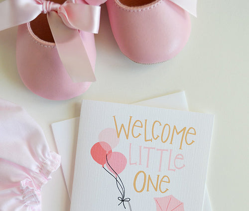 Welcome Little One pink balloons card