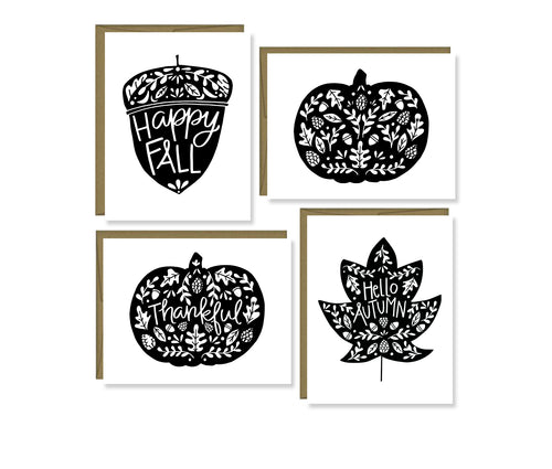 Fall pumpkins, leaf, & acorn note card set (black)