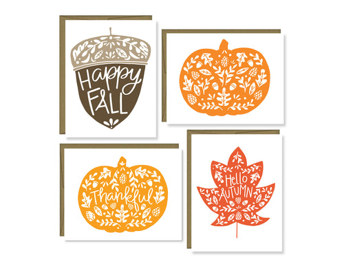 Fall pumpkins, leaf, & acorn note card set (color)
