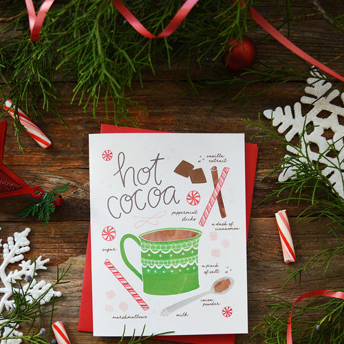 Hot cocoa recipe illustration greeting card