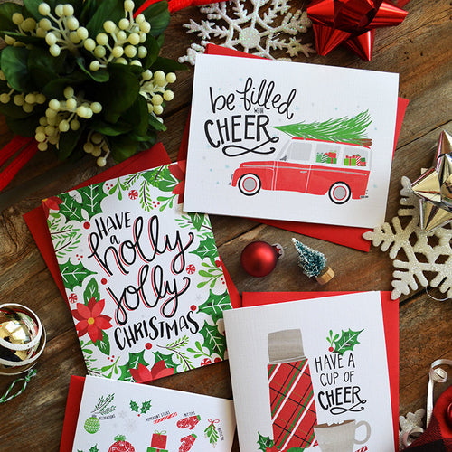 Be Filled with Cheer set of four Christmas cards
