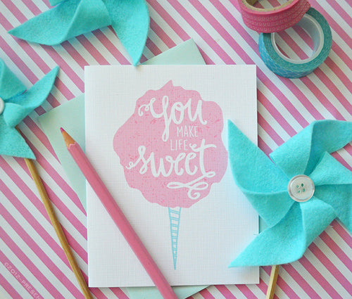 You make life sweet cotton candy card