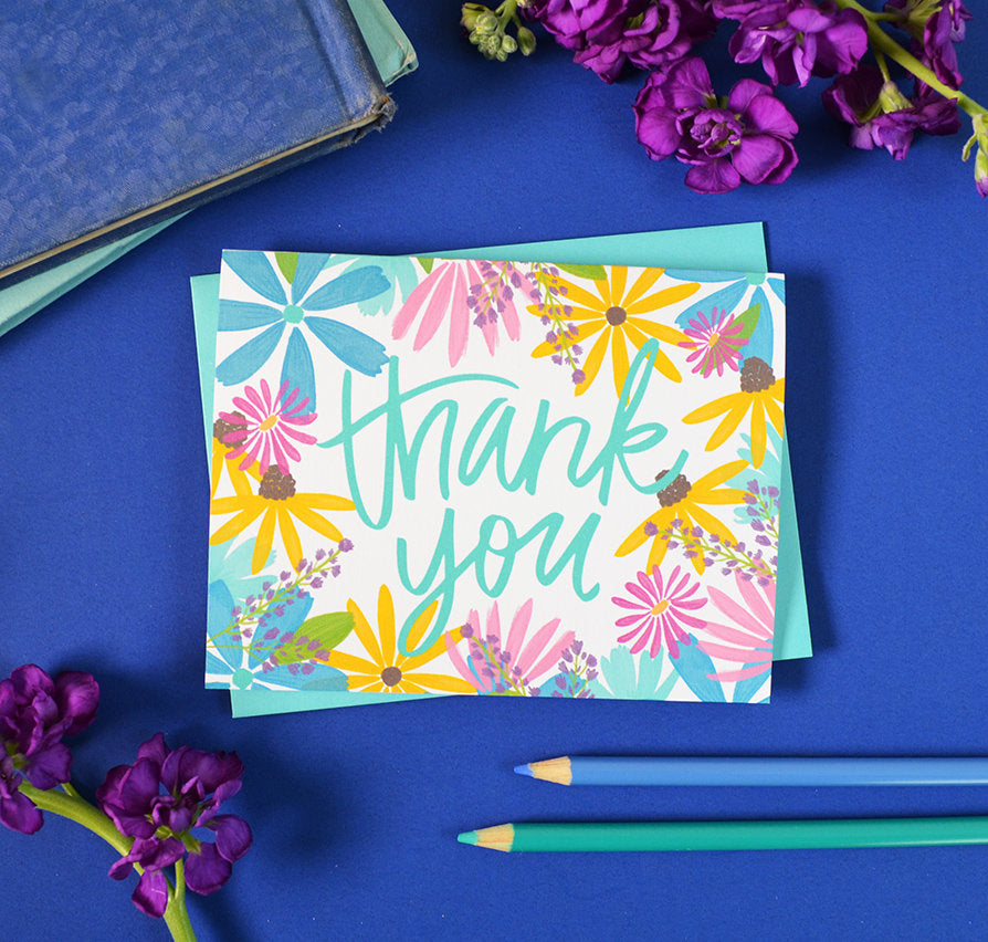 Thank You Wildflower Watercolor Flowers Card Pen Paint