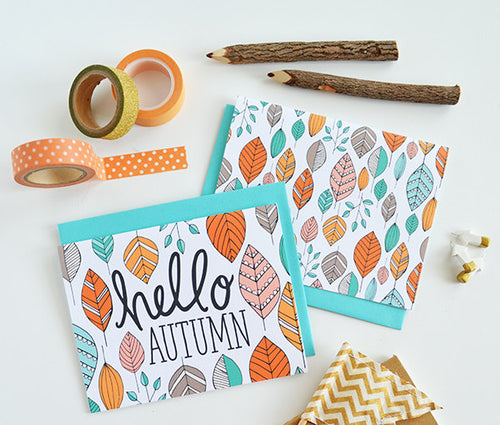 Hello Autumn leaves set of four note cards