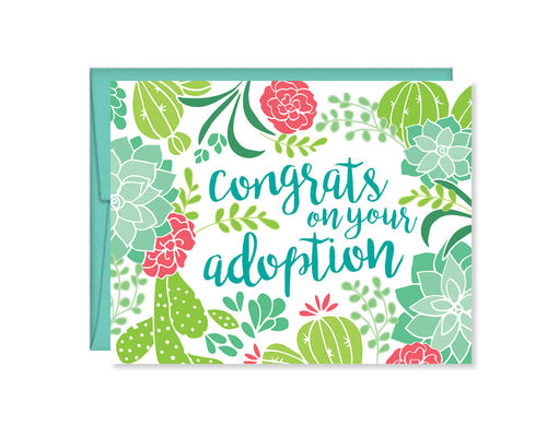 Succulent Cactus Congrats on your adoption card
