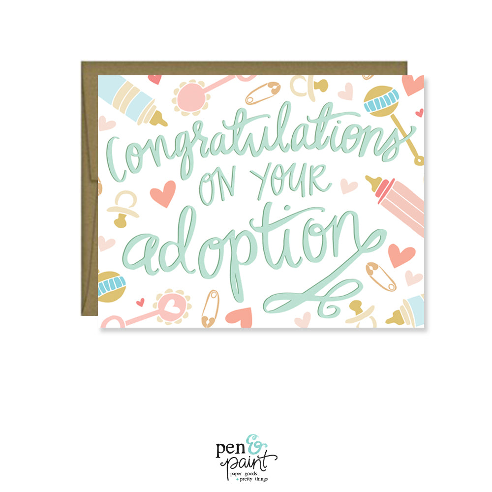 Congratulations On Your Adoption Card Pen Paint