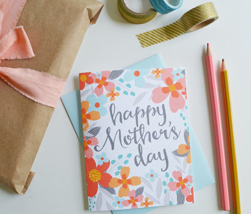 Happy Mother's Day Floral Coral card