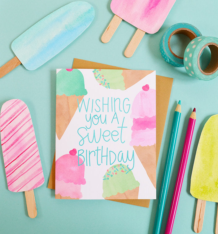 Wishing You A Sweet Birthday Ice Birthday Card Pen Paint