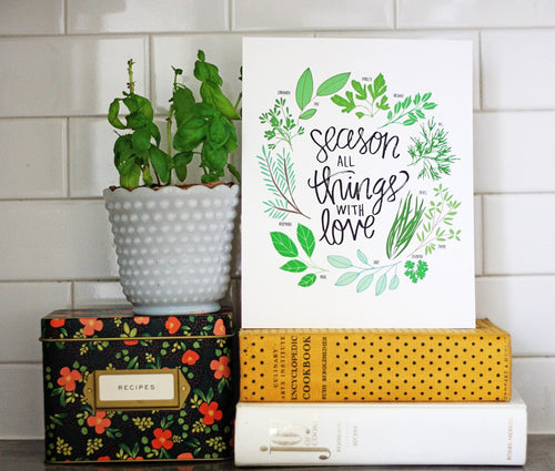 Season all Things with Love Herbs Illustration print