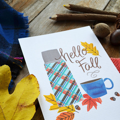 Hello Fall Vintage Thermos Art Print