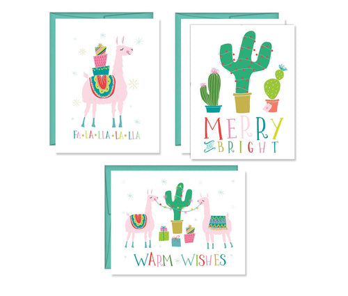 Llama Christmas set of four Cards
