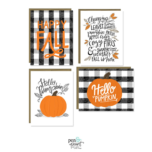 Hello Pumpkin set of four seasonal cards
