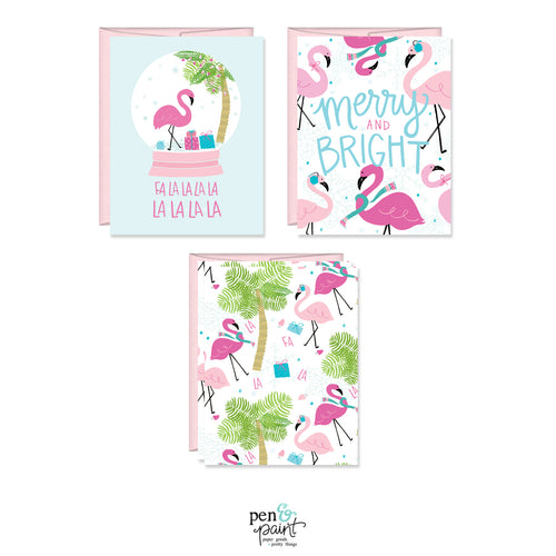 Flamingo Merry & Bright set of four holiday cards