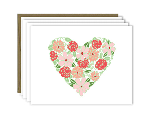 Floral Heart note card set of four