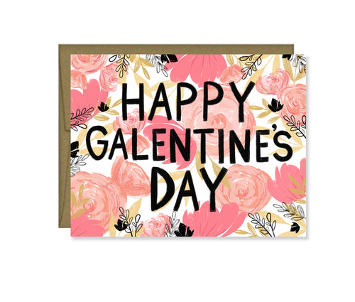 Happy Galentine's Day painted floral card