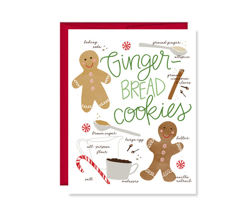 Gingerbread cookie recipe illustration greeting card