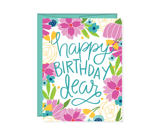 Happy Birthday Dear floral birthday card
