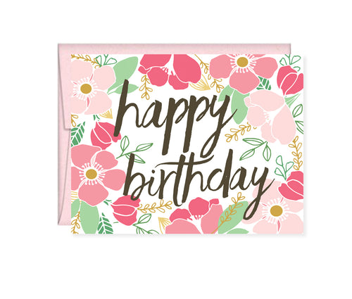 Happy Birthday pink floral card