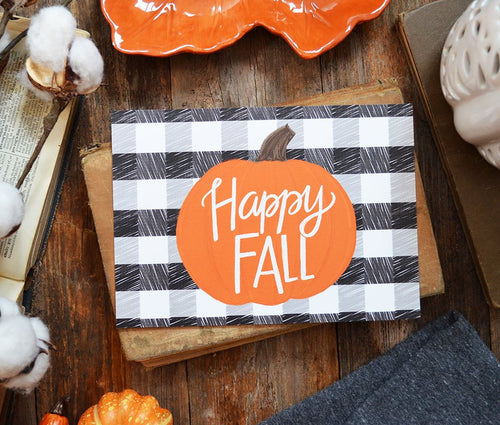 Happy Fall Plaid Pumpkin Art Print