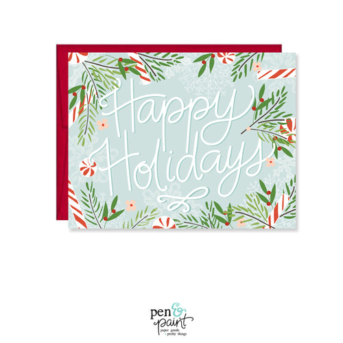 Happy Holidays Blue Card