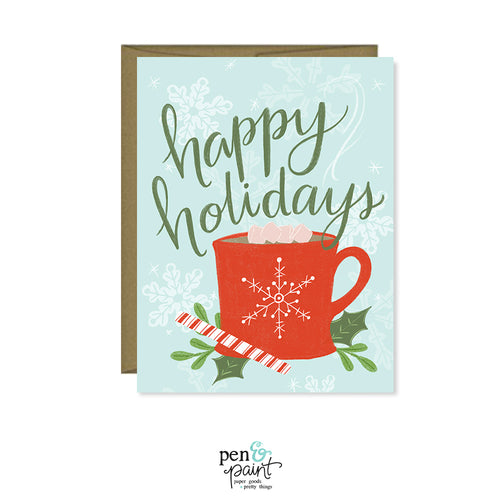 Happy Holidays red mug card