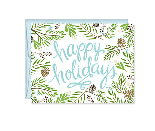 Happy Holidays Winter Pine card
