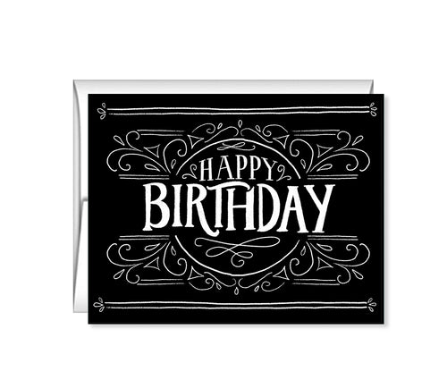 Happy Birthday black hand lettered birthday card