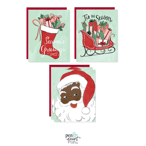 Hey Santa set of four Christmas cards