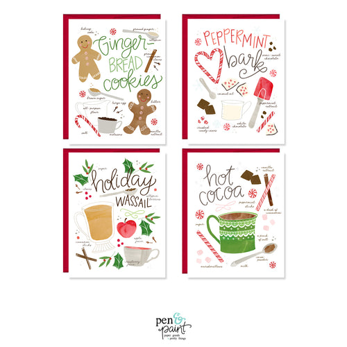 Holiday treats Christmas set of four note cards