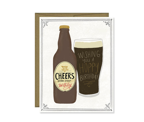 Hoppy Birthday, Beer lover, Guy's birthday card, Greeting Card