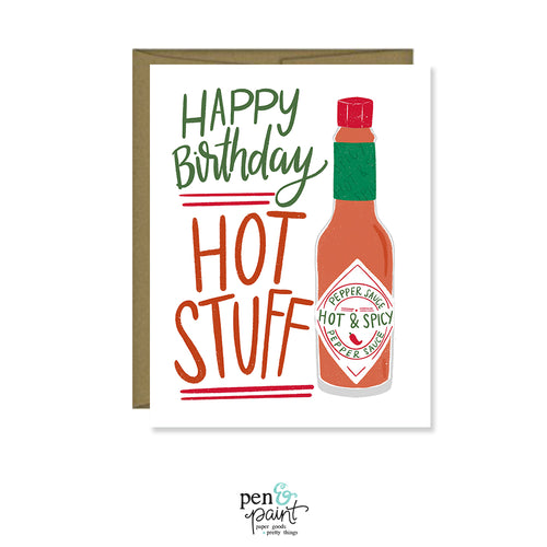 Happy Birthday Hot Stuff! Guy's birthday card, Greeting Card