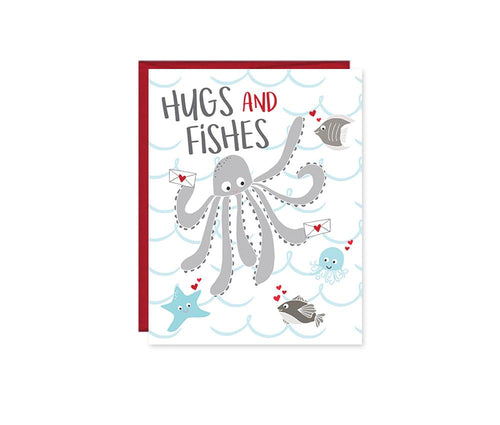 Hugs and Fishes Kid's Valentine's Day card