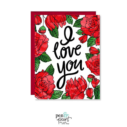 I love you roses Valentine's Day card