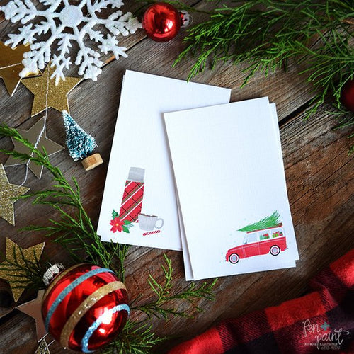 Holiday Christmas tags, thermos & red car mini cards