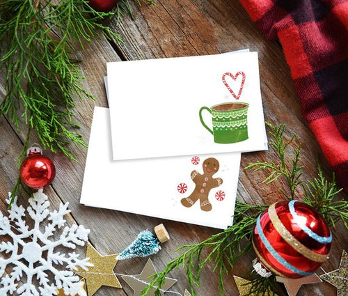 Holiday Christmas tags, Gingerbread & hot cocoa mini cards