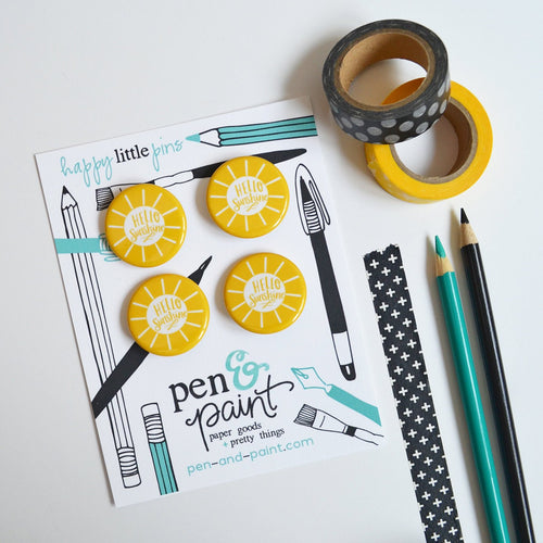 Hello Sunshine Button Pins (set of four)