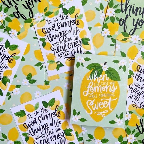 Sweet Lemons postcard set - 8 postcards