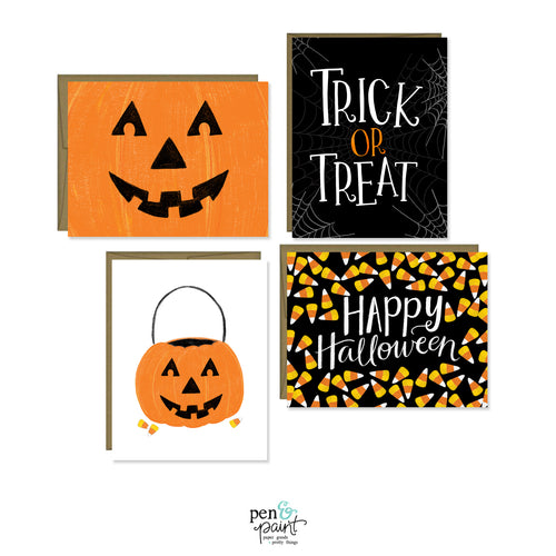 Halloween set of four seasonal cards