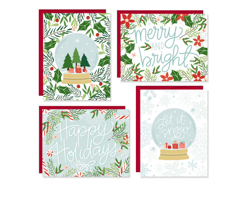 Snow Globe set of four Holiday Cards