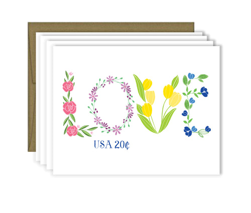 Love Vintage Stamp note card set of four