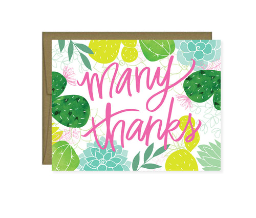 Many Thanks cactus card