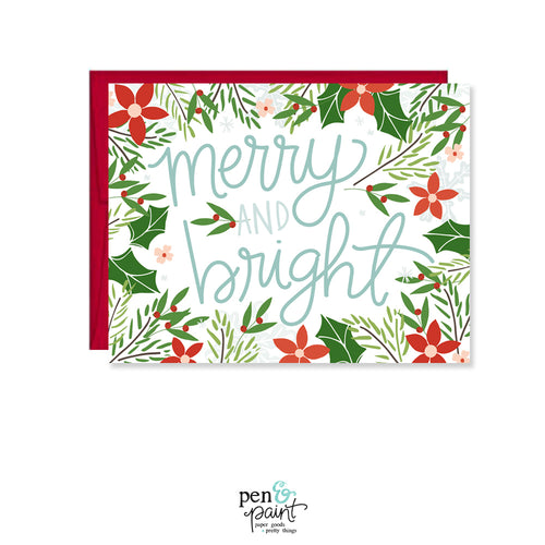 Merry & Bright Poinsettias Card