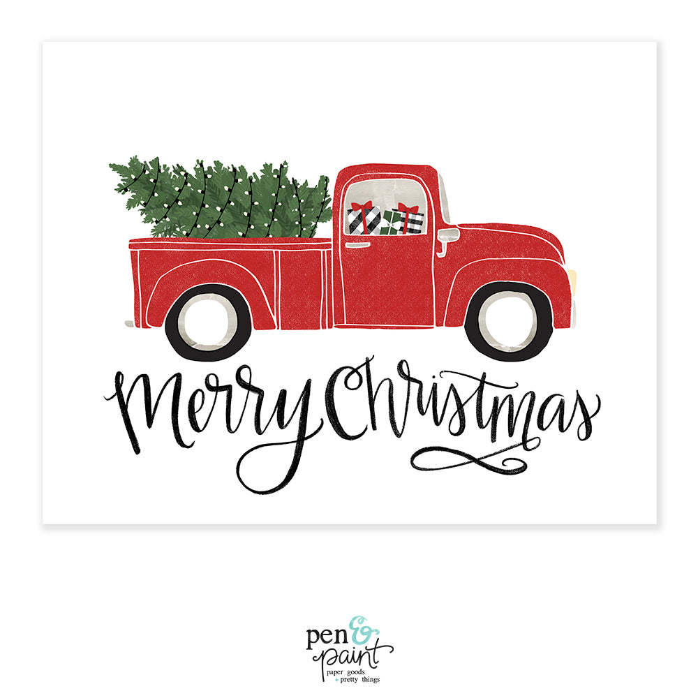 Christmas Red Truck.Merry Christmas Vintage Red Truck Christmas Holiday Art Print