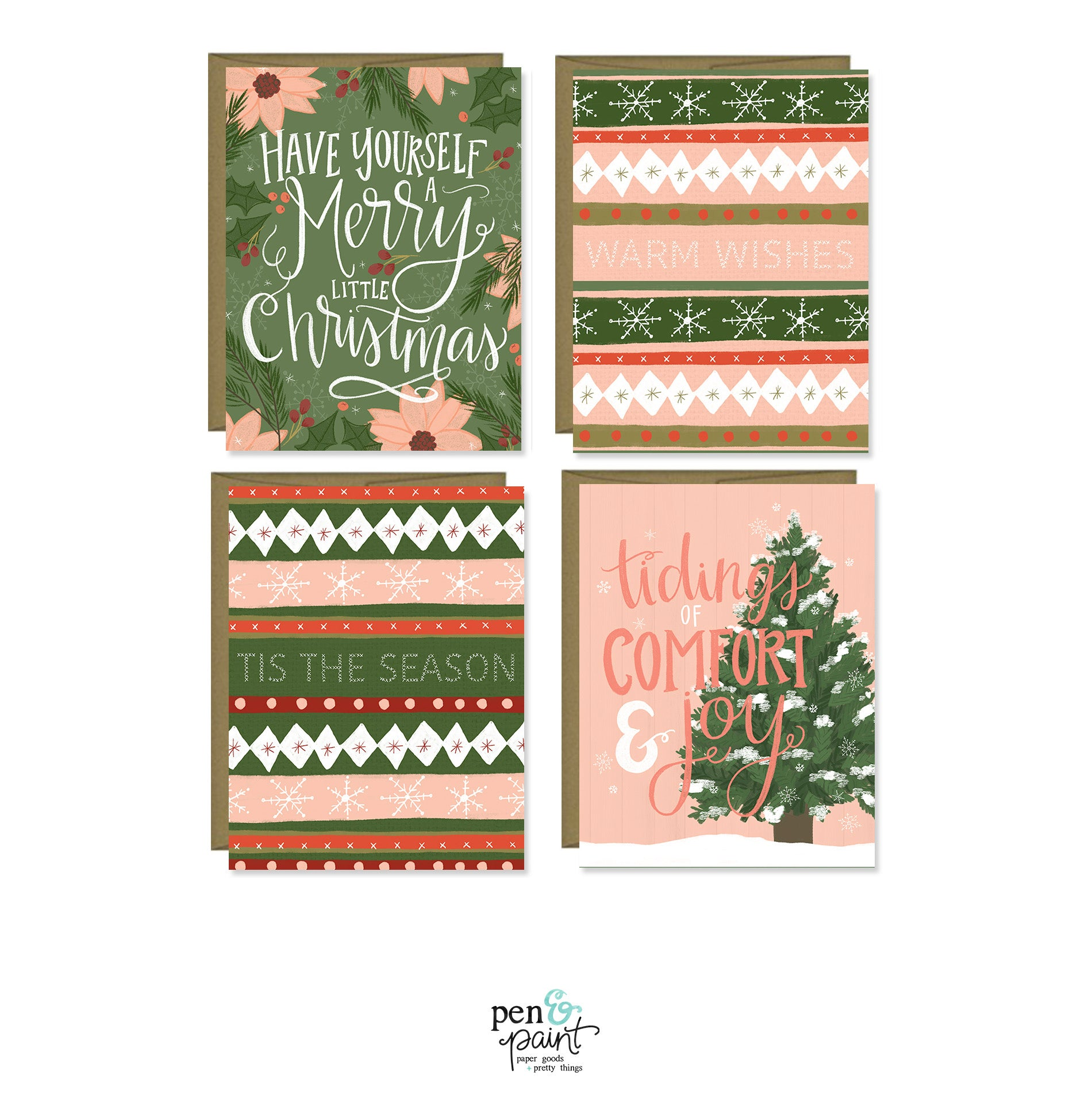 Merry Little Christmas set of four Christmas cards – Pen & Paint