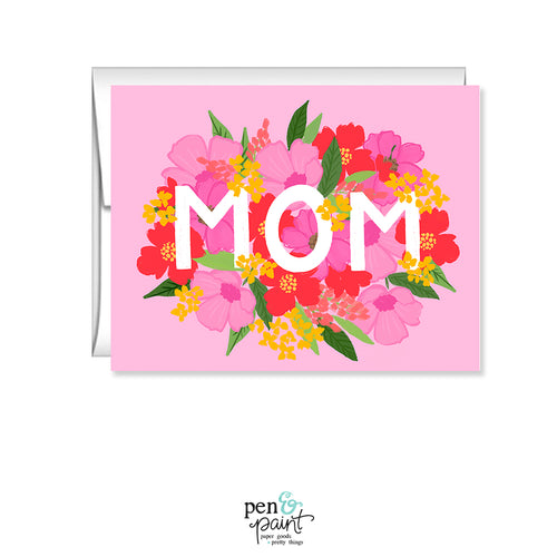 MOM, Pink floral Mother's Day Card GC881