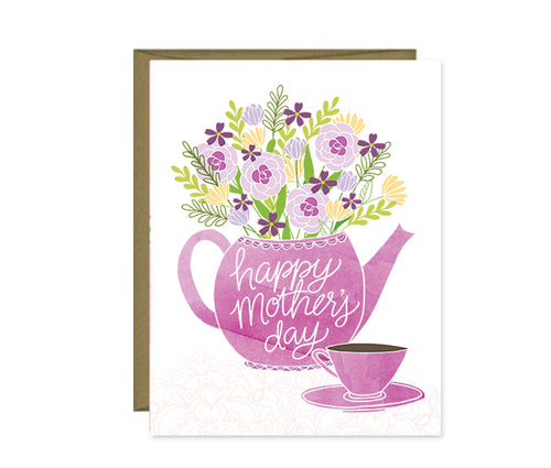 Happy Mother's Day tea pot & flowers card MF828