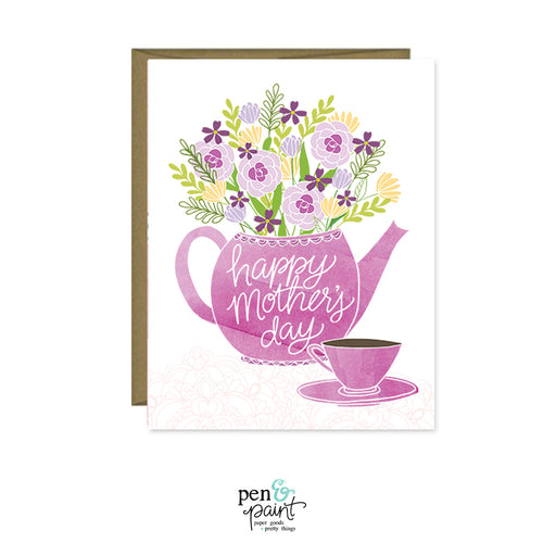 Happy Mother's Day tea pot & flowers card
